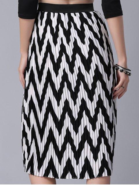 women High Waist Zig Zag Pattern Skirt - WHITE AND BLACK M Mobile