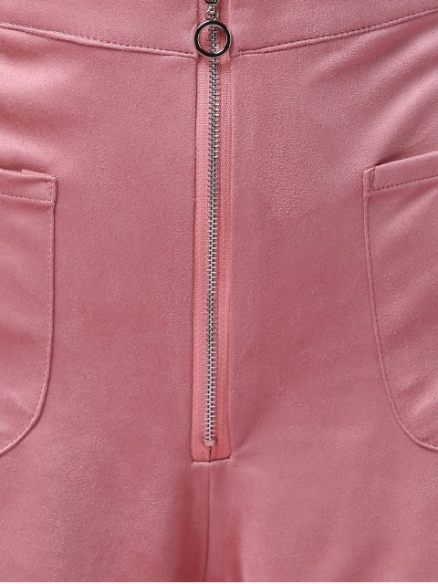 online Exposed Zip Suede Shorts - PINK L Mobile