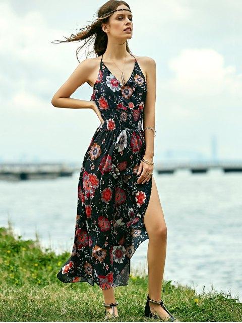 lady Floral Print Beach Maxi Dress - BLACK M Mobile