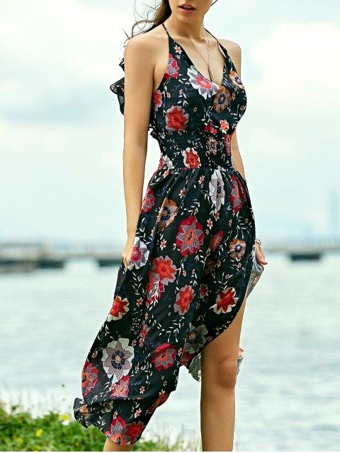 Robe maxi de plage bretelles imprimée floral - Noir L Mobile