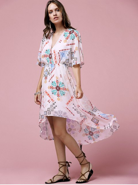 buy Cross-Over Chiffon Dress - OFF-WHITE L Mobile