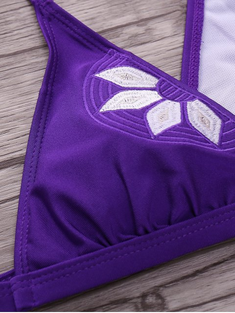 shop Embroidered Cami Bikini Set - PURPLE S Mobile