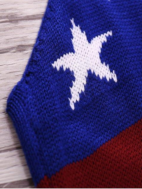 online American Flag Print Halter Crop Top - BLUE S Mobile