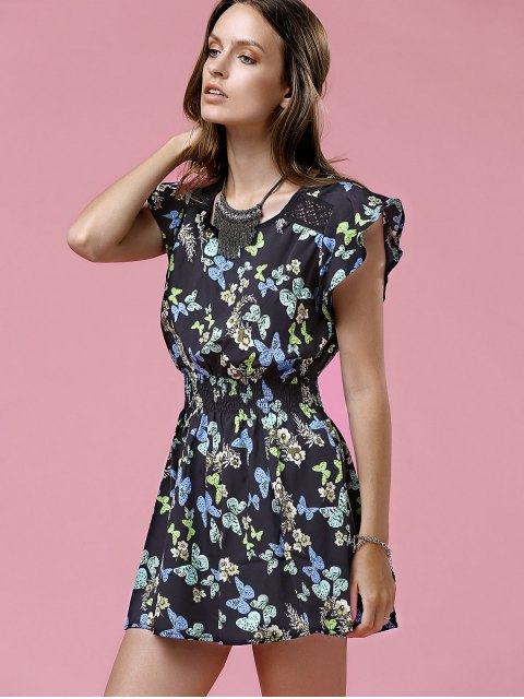 shops Print Round Neck Waisted Mini Dress - BLACK M Mobile