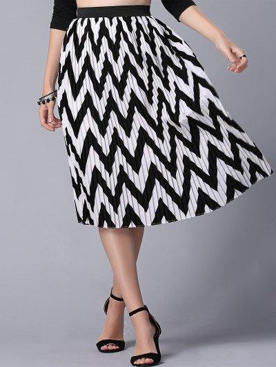 High Waist Zig Zag Pattern Skirt - WHITE AND BLACK L Mobile