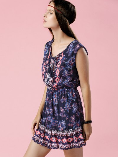 Printed V-Neck Sleeveless Waisted Dress - PURPLISH BLUE L Mobile