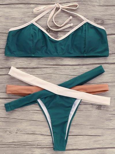 Hollow Out Halter Bikini Set - Green Xl