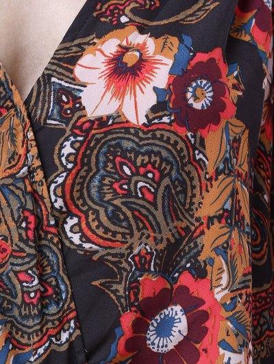 Lantern Sleeve Surplice Dress - COLORMIX L Mobile