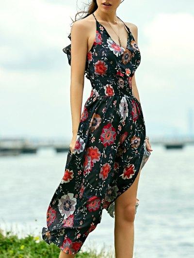 Floral Print Beach Maxi Dress - Black
