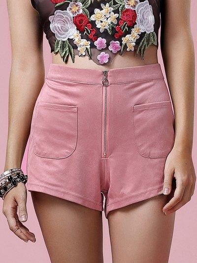 Exposed Zip Suede Shorts - Pink