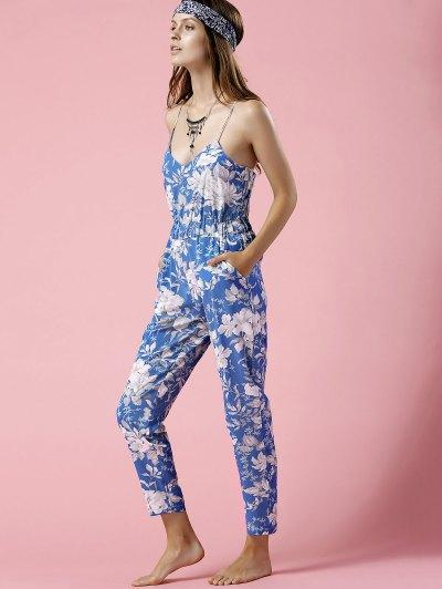 Blue Floral Print Cami Jumpsuit - BLUE S Mobile