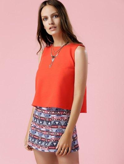 Orange Tank Top and Geometric Print Skirt Suit - COLORMIX L Mobile