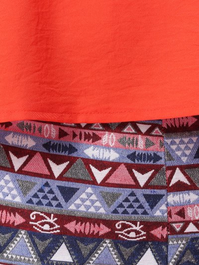 Orange Tank Top and Geometric Print Skirt Suit - COLORMIX S Mobile