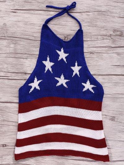 American Flag Print Halter Crop Top - Blue