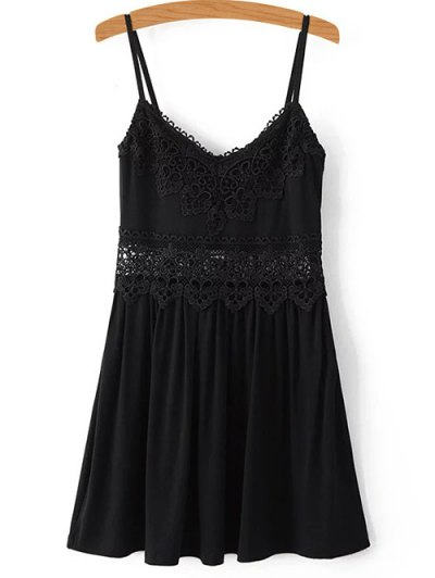Lace Spliced Cami Mini Dress - Black