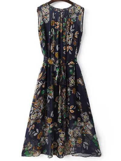 Round Neck Sleeveless Belted Printed Dress and Cami Solid Color Tank Top