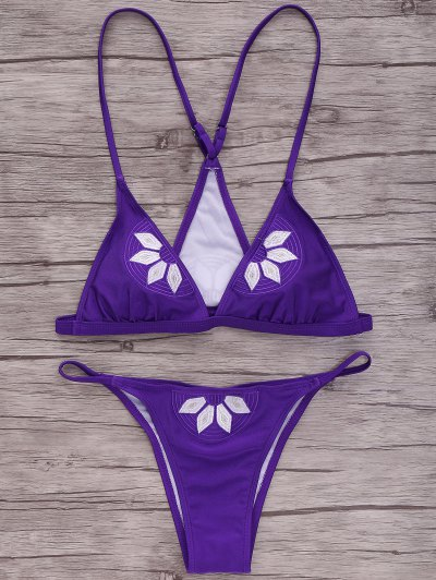 Embroidered Cami Bikini Set - Purple