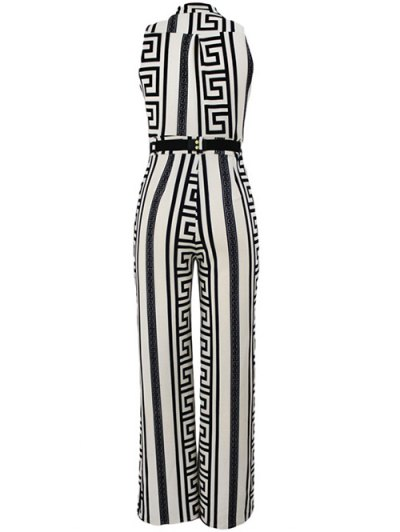 Printed Stand Neck Sleeveless Jumpsuit - WHITE 2XL Mobile