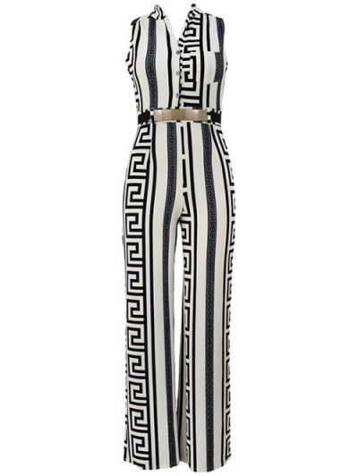 Printed Stand Neck Sleeveless Jumpsuit - WHITE L Mobile