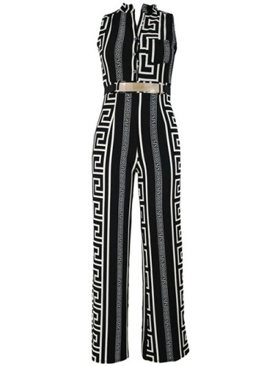 Printed Stand Neck Sleeveless Jumpsuit - BLACK XL Mobile