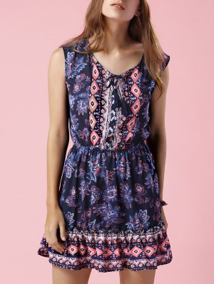 Printed V-Neck Sleeveless Waisted Dress - Purplish Blue