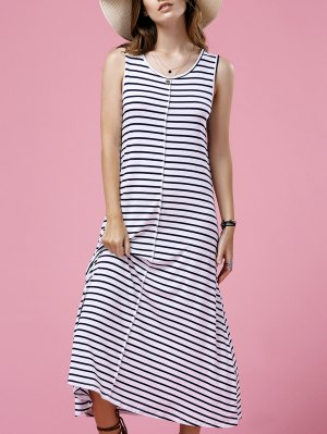 Striped Casual Round Neck Sleeveless Maxi Dress - White
