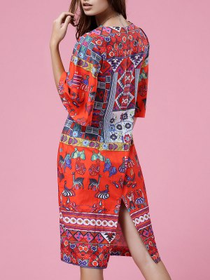Retro Print Round Neck Half Sleeve Dress - Orangepink