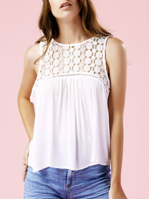 Solid Color Lace Spliced Round Neck Tank Top - White