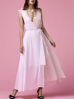 Hit Color Plunging Neck Sleeveless  Chiffon Dress - Pink