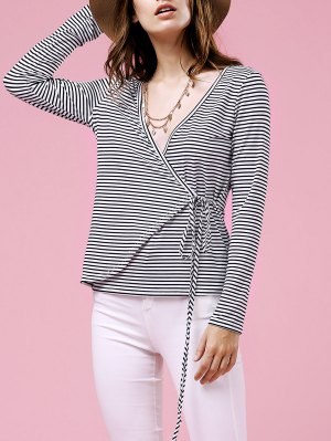 Drawstring Striped Plunging Neck Long Sleeve T-Shirt - White