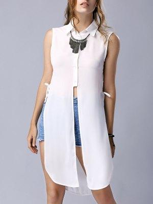 High Slit Turn Down Collar Sleeveless Shirt - White