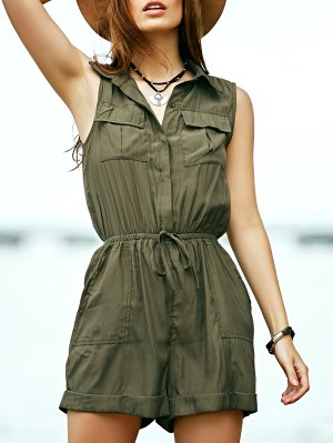 Solid Color Turn Down Collar Sleeveless Romper - Army Green