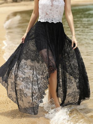 Full Lace Black High Waist Skirt - Black