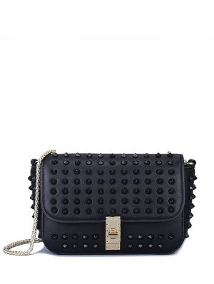 Studded Hasp Solid Color Crossbody Bag - Black