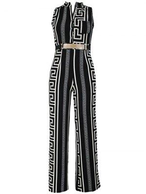 Printed Stand Neck Sleeveless Jumpsuit - Black