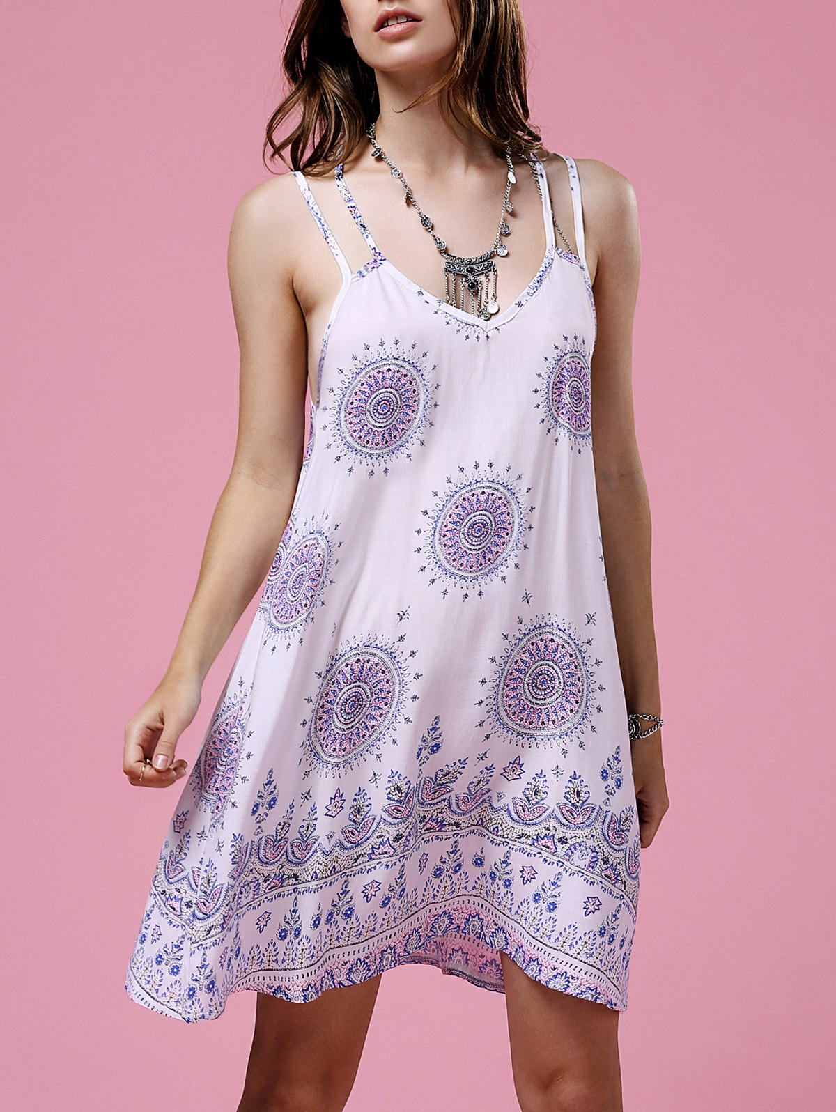 Ethnic Print Cami Backless Dress