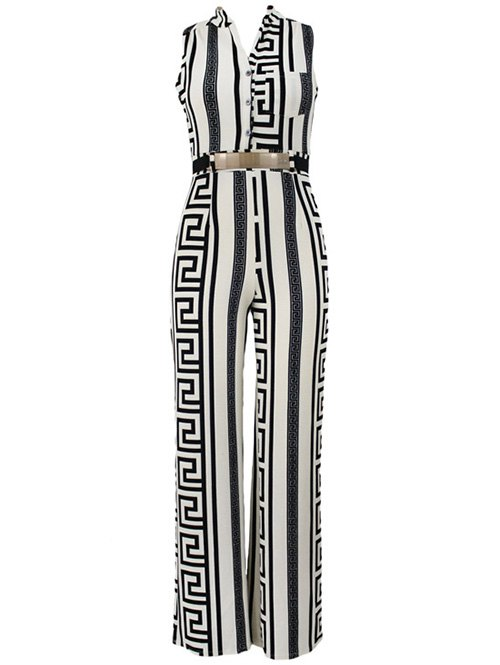Stand Neck Sleeveless Printed Jumpsuit