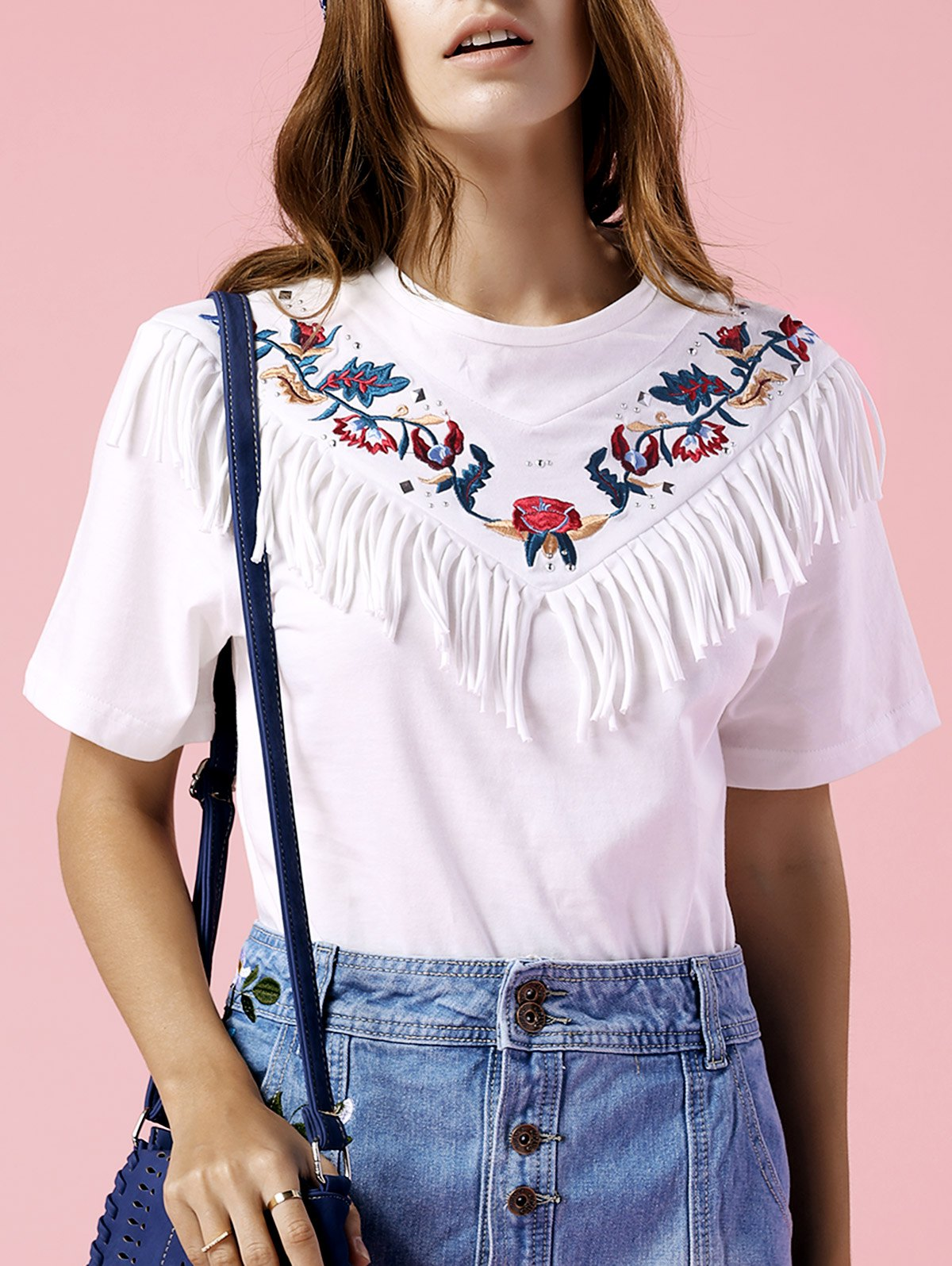 Tassels Spliced Round Neck Short Sleeve Embroidery T-Shirt