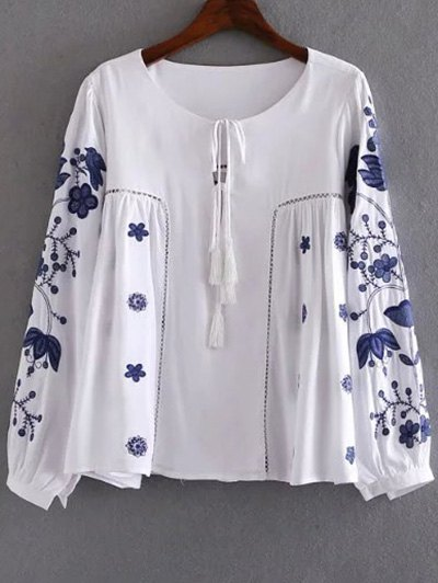 Round Neck Long Sleeve Embroidery T-Shirt