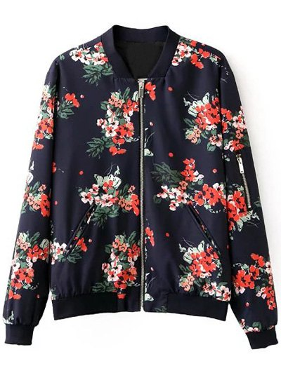 Floral Print Stand Neck Long Sleeve Zipper Up Jacket от Zaful.com INT