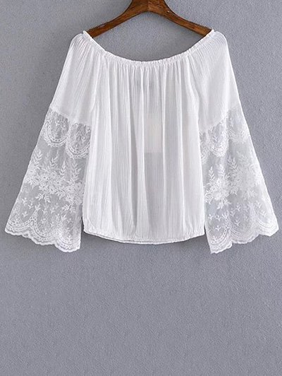 Lace Spliced Scoop Neck Cropped T-ShirtClothes<br><br><br>Size: M<br>Color: WHITE