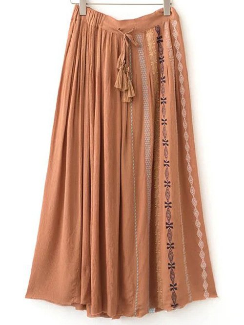 Embroidery Drawstring Long Skirt