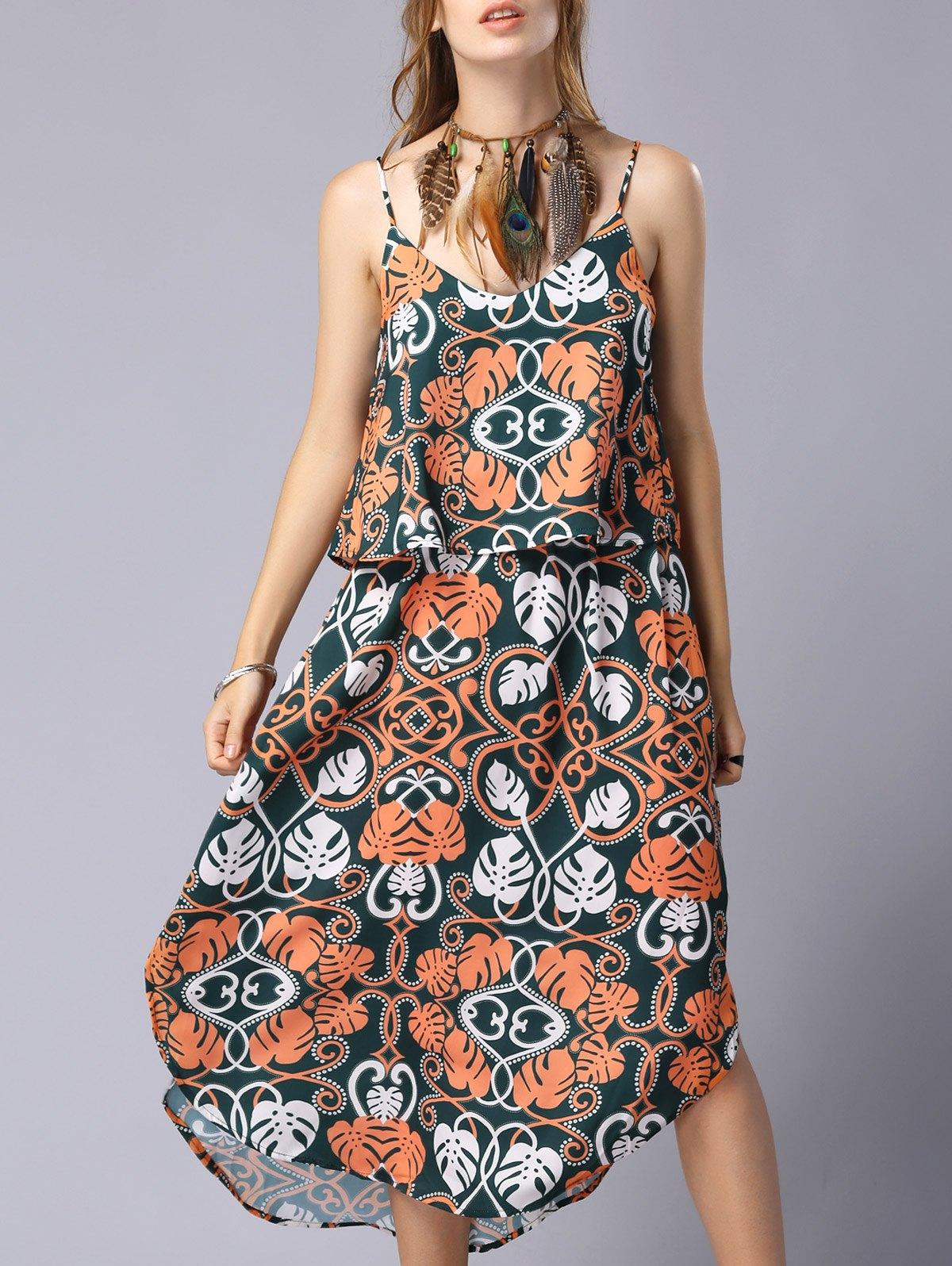 Print Cami Flounce Splice Dress