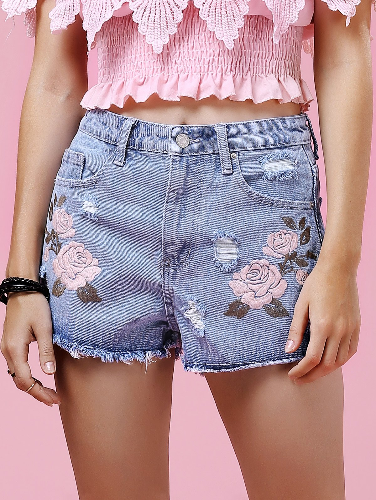 Ripped Floral Embroidery Denim Shorts