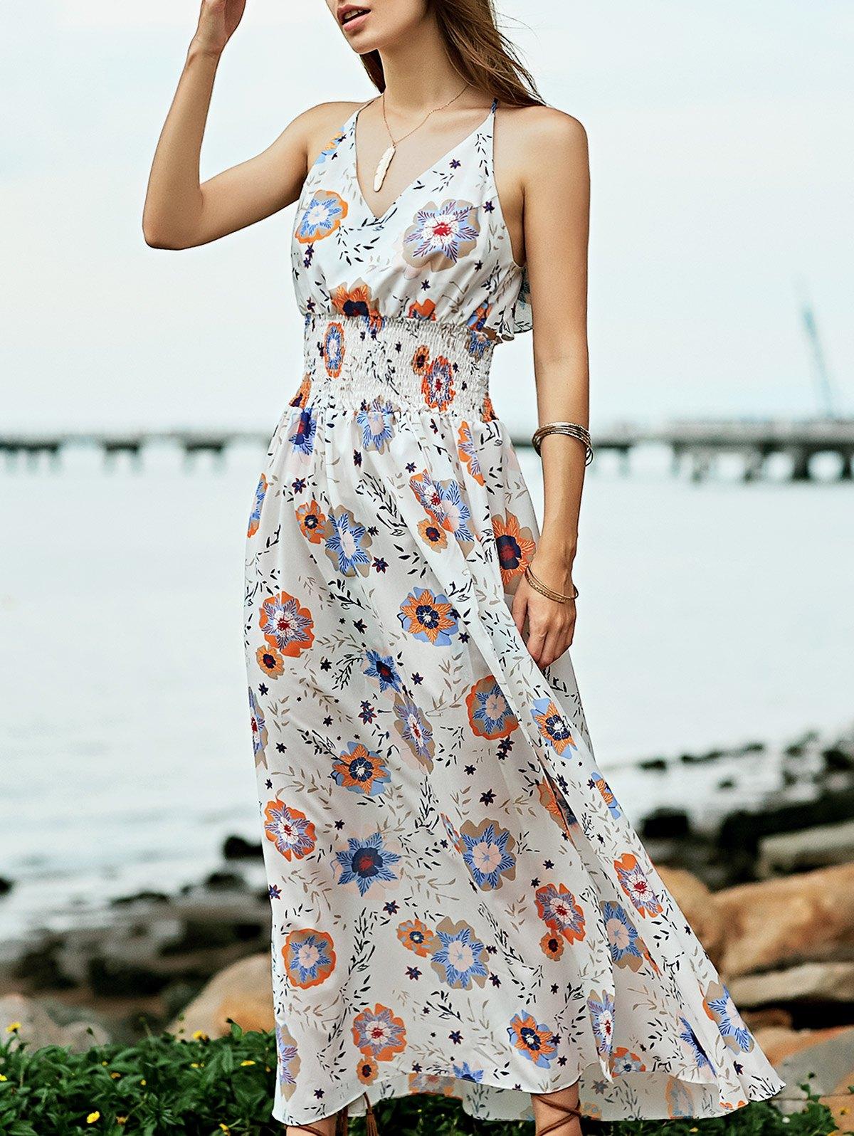 Rochie lungă, elegantă, cu imprimeu floral, fără mâneci