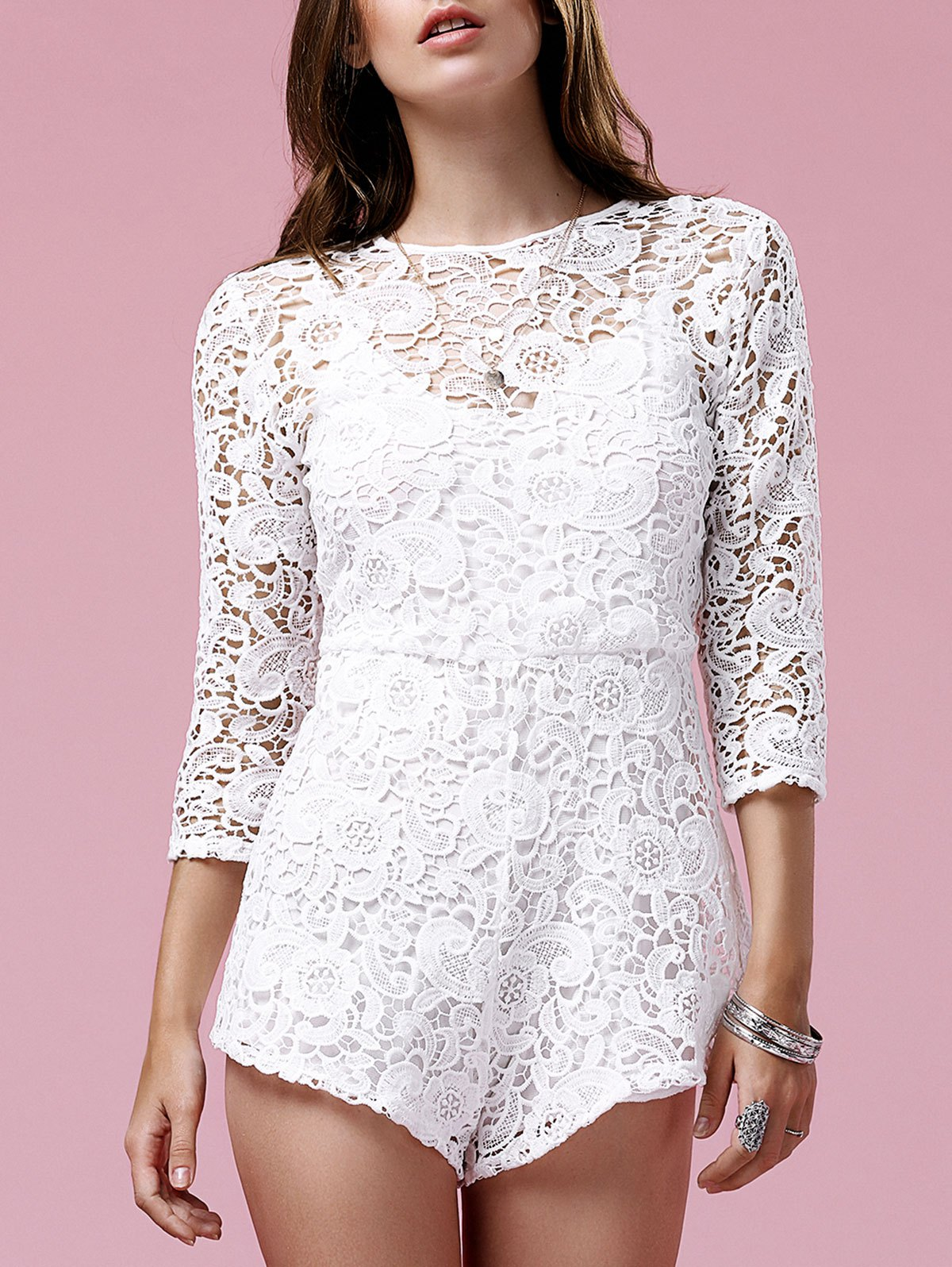 Guipure Lace White Playsuit