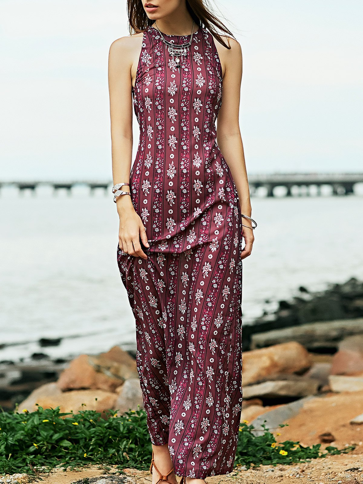 Maxi Prom Dress in Plum