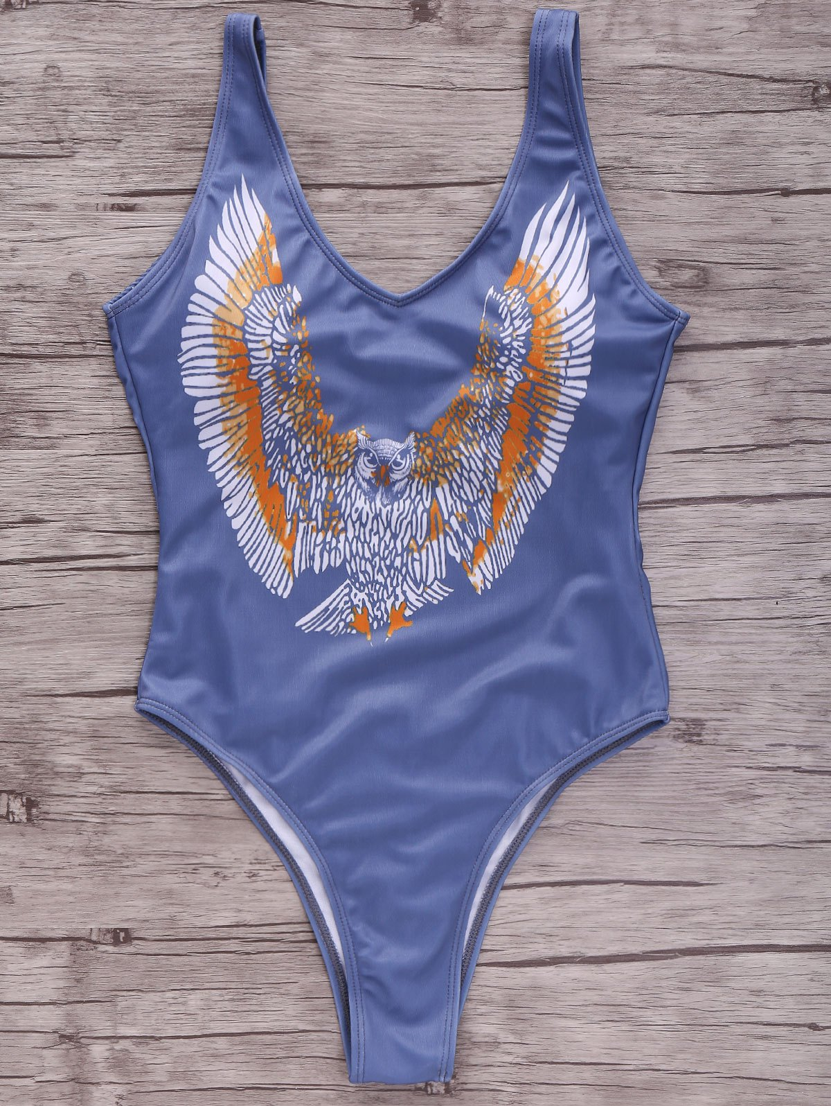 Plunging Neck Eagle Print One-Piece Swimwear