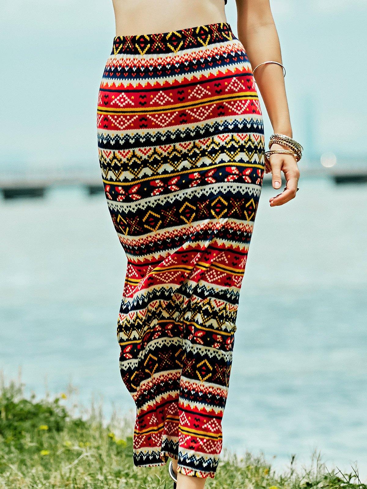 Geometric High Waist Slit Pencil Skirt