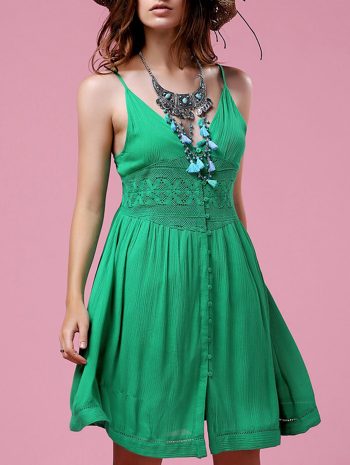 Cami Green Lace Splice A Line Dress